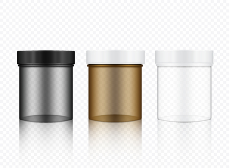 Mock up Realistic Transparent Jar Packaging Product For Cosmetic Beauty and Health Care medicine Background.