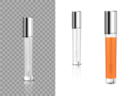 Mock up Realistic Transparent Bottle Cosmetic Lip Gloss Balm,Concealer, Oil for Skincare Product Packaging With Metallic Cap Background Illustration Ilustração