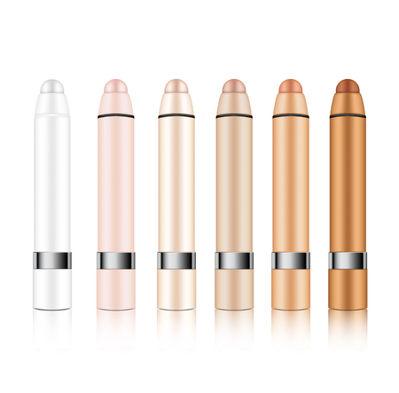 Mock up Realistic Cosmetic Lipstick Pencil or Concealer for Make up Skincare Product Packaging With Metallic on white Background vector
