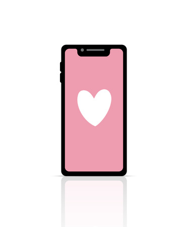 Valentine Day with Heart on Smart Phone for Love Pastel Pink Background Illustration