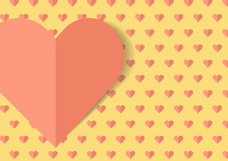 Valentine Day with Heart for Love Pastel Orange Heart on Yellow Background Illustration