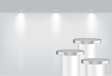 Mock up Realistic Empty Metallic Shelves for interior to Show Product with light and shadow background illustration