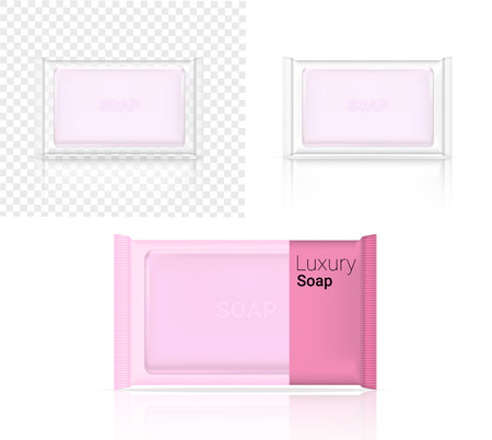 3D Mock up Realistic Soap Bar Cosmetic Transparent Packaging Paper Wrap or Plastic Pack for Advertising Design Background Illustration