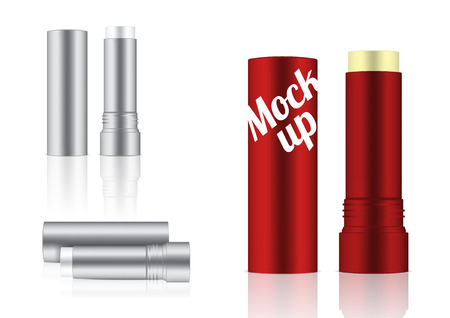 Mock up Realistic Cosmetic Lip Balm Pencil or Concealer for Make up Skincare Product Packaging With Metallic on white Background vector
