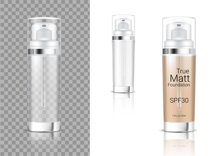 Mock up Realistic Transparent Pump Bottle Cosmetic Foam Soap, Shampoo, Cream, Oil Dropper for Skincare Foundation Product Packaging With Metallic Cap on white Background Illustration Çizim