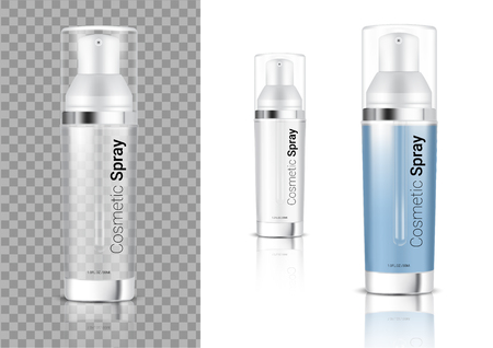 Mock up Realistic Transparent Spray Bottle Cosmetic or Oil for Skincare Product Packaging With Metallic and Cap on white Background Illustration