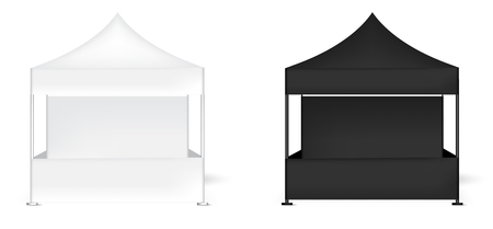 3D Mock up Realistic Tent Display Wall POP Booth for Sale Marketing Promotion Exhibition Background Illustration Ilustracja