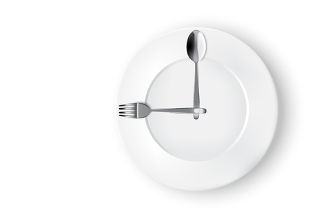 Abstract Realistic Time To Eat With Clock, White Plate or Dish, Metal Spoon  and Fork on Dining Table for food isolated white Background Illustration.