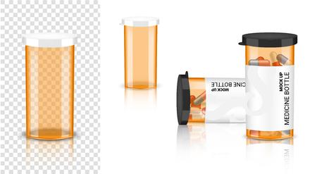 Botella 3D Mock up Medicina realista Envase ámbar transparente para cápsulas y píldoras de vitaminas. Producto saludable en la ilustración de fondo blanco