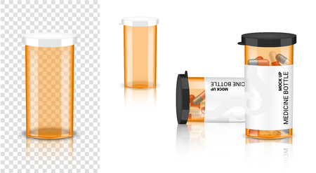 Bottle 3D Mock up Realistic Medicine transparent Amber Packaging for Capsule and vitamin pill. Healthy Product on white Background Illustration Ilustracja