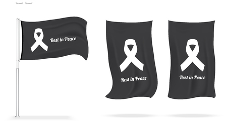 Flag Mock up Mourning symbol with Black Respect ribbon on white background. Rest in Peace Funeral Vector Illustration.