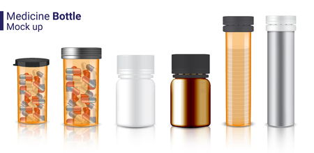 Bottle 3D Mock up Realistic Medicine transparent Amber Packaging for Capsule and vitamin pill. Healthy Product on white Background Illustration Illustration