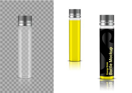 3D Mock up Realistic Transparent Bottle  Enerygy Drink or Vitamin Product Packaging on  Background Illustration
