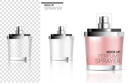 3D Mock up Realistic Spray Bottle  Perfume Cosmetic or Soap Foam for Skincare Product Packaging With pink pastel color and Silver Cap on  Background Illustration