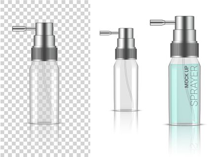 3D Mock up Realistic Transparent Spray Bottle  Cosmetic or Lotion for Skincare Product Packaging With Silver Cap on  White Background Illustration