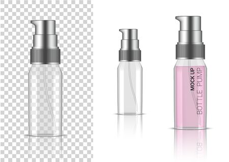 3D Mock up Realistic Transparent Bottle Pump Cosmetic or Lotion for Skincare Product Packaging With Silver Cap on  White Background Illustration Illustration