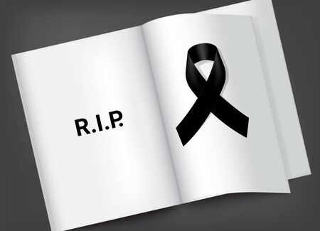 Mock up Mourning symbol with Black Respect ribbon on white Paper book background Banner. Rest in Peace Funeral card Vector Illustration.