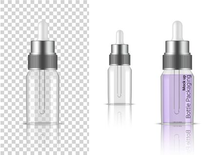Transparent Bottle. 3D Mock up Realistic Dropper Cosmetic, Oil Serum, perfume for Skincare Product Health Care Packaging and Science With metallic Cap on  Background Illustration Illustration
