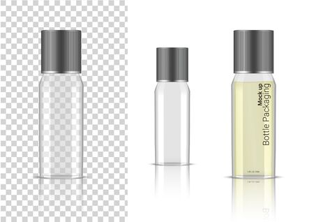Transparent Bottle. 3D Mock up Realistic Cosmetic, Oil Serum, perfume for Skincare Product Health Care Packaging and Science With metallic Cap on  Background Illustration Illustration