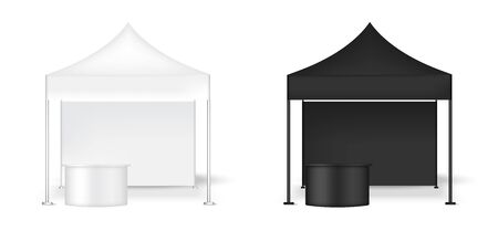 3D Mock up Realistic Tent Display Wall POP Booth With Table for Sale Marketing Promotion Exhibition Background Illustration Vektorgrafik