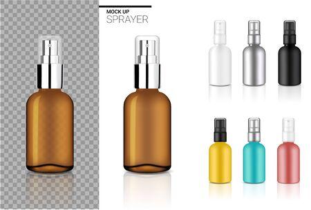 Simulacros de plantilla de conjunto cosmético de botella de spray realista con negro, ámbar transparente, plata, oro rosa, azul y amarillo en la ilustración de fondo blanco