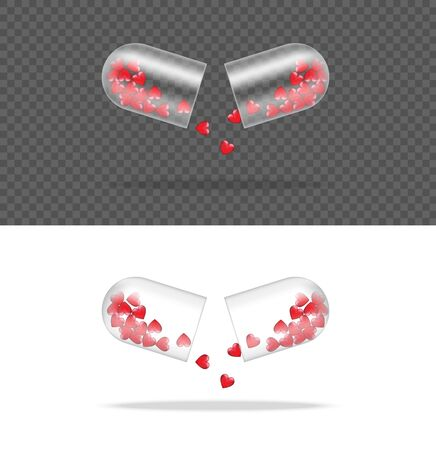 Mock up Realistic Transparent Pill Medicine Capsule Panel With Heart on White Background Vector Illustration. Tablets Medical and Health Concept.