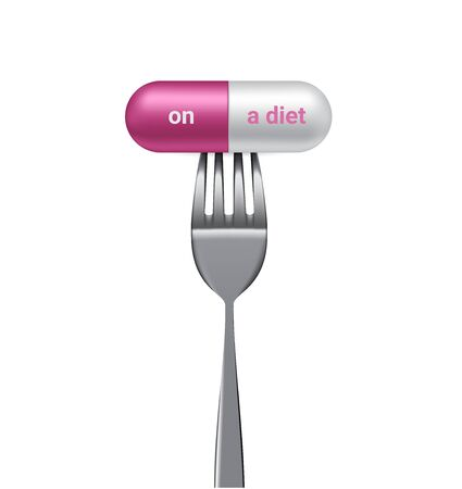 Realistic Capsule or Pill Medicine With On a diet and Fork. Addict to Slim Body isolated Background. Иллюстрация