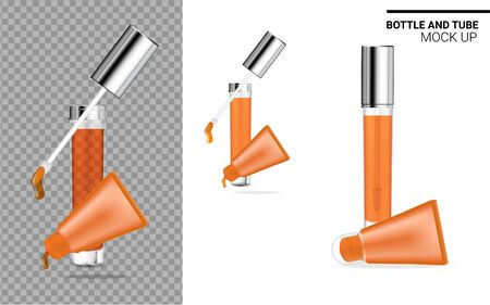 Bottle and Tube Mock up Realistic Transparent, Orange Cosmetic. Health care and Medical Product Packaging for Lipgloss and Lips Balm Template Set for Skincare. Background Vector