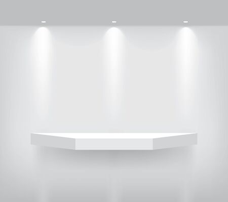 Mock up Realistic Empty Geometric Shelf for interior to Show Product with Spotlight and shadow on White background. Pedestal Design illustration