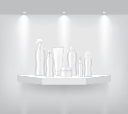 Bottle and Tube Mock up on Realistic Geometric Shelf for interior to Show Product with Spotlight and shadow on White background. Advertising Pedestal Design illustration