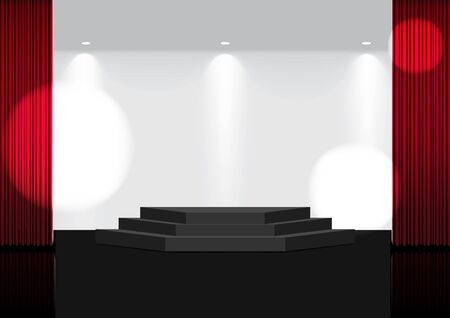 3D Mock up Realistic Open Red Curtain on Stage or Cinema for Show, Concert or Presentation with Spotlight background illustration vector