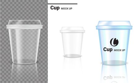 Mock up Realistic Transparent Cup Plastic Packaging Product and Logo Design on Transparent and White Background Illustration