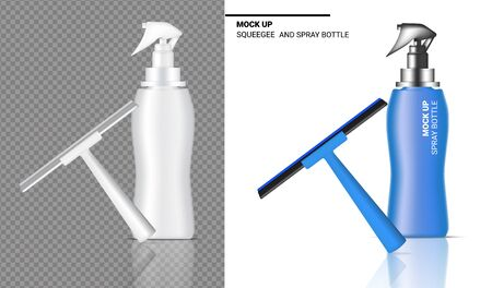 Spray Bottle Mock up Realistic Squeegee Cleaning Object. For Household Wiper Thing Vector on Transparent and White Background