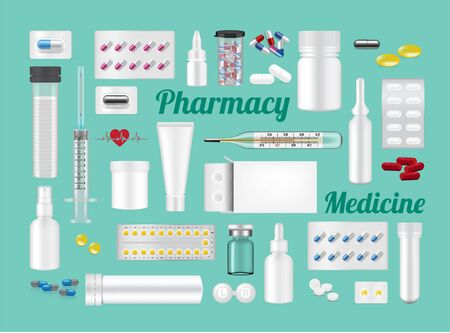 Hospital Tools, Bottle, Tube Mock up and Realistic Capsules, Pill, Medicine on Green Background with Packaging, Thermometer and Syringe for fever check design Vector Illustration. Tablets Medical, Pharmacy and Health Care Concept.