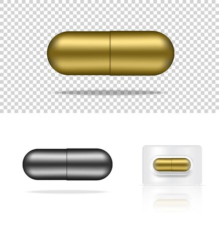 Mock up Realistic Pill Medicine Gold and Silver Capsule Panel on White Background Vector Illustration. Tablets Medical and Health Concept.