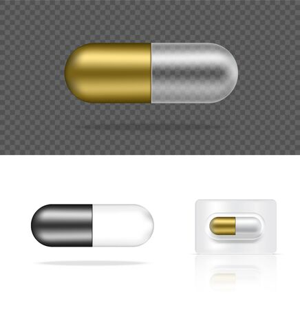 Mock up Realistic Transparent Pill Medicine Gold and Silver Capsule Panel on White Background Vector Illustration. Tablets Medical and Health Concept. Ilustração