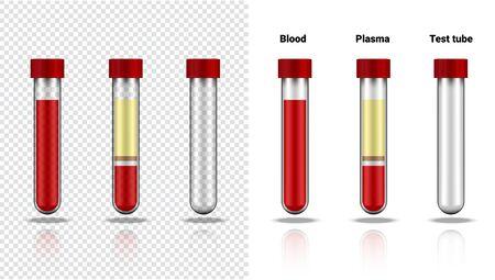 Bloedfles en plasma mock up realistische transparante reageerbuis kunststof of glas voor wetenschap en leren op witte achtergrond afbeelding. Gezondheidszorg en medisch conceptontwerp Vector Illustratie