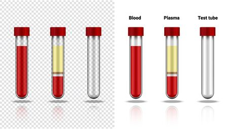 Blutflasche und Plasma-Mock-up realistischer transparenter Reagenzglas-Kunststoff oder Glas für Wissenschaft und Lernen auf weißer Hintergrundillustration. Gesundheitswesen und medizinisches Konzeptdesign Vektorgrafik