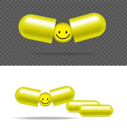 Realistic Pill Medicine Capsule Panel With Smile on White Background Vector Illustration. Tablets Medical and Health Concept.