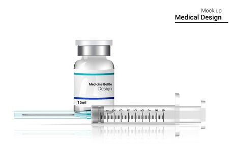 Bottle Mock up Realistic and Vaccine Syringe flu shot on White Background with Packaging. Hospital Tool design Vector Illustration. Medical and Health Concept. Stock Vector - 134842600