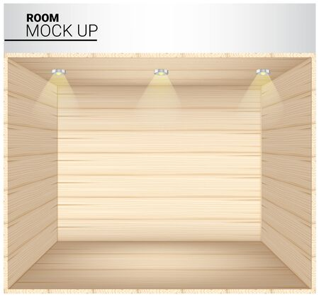 3D Mock up Realistic Wooden Empty Room for Shop, store Exhibition with Spotlight Background Illustration 스톡 콘텐츠 - 135423416