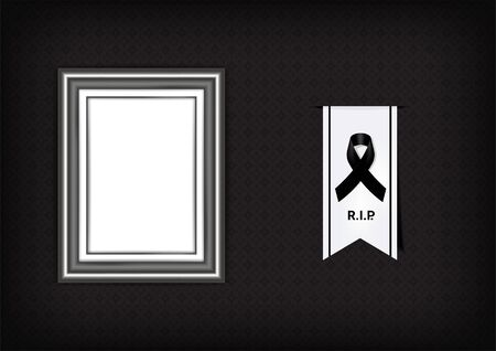 Mock up Mourning symbol with Black Respect ribbon and Frame on Texture background Banner. Rest in Peace Funeral card Vector Illustration.