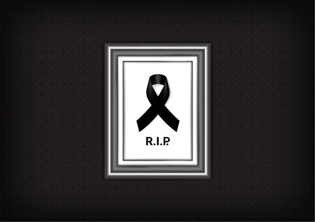 Mock up Mourning symbol with Black Respect ribbon and Frame on Texture background Banner. Rest in Peace Funeral card Vector Illustration. Vector Illustration