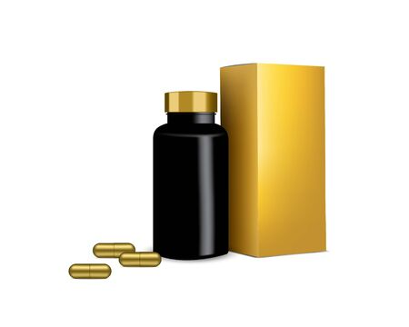 Bottle Mock up Realistic Pill Medicine and Gold Box Capsule Panel on white Background Vector Illustration. Tablets Medical and Health Concept. Illusztráció