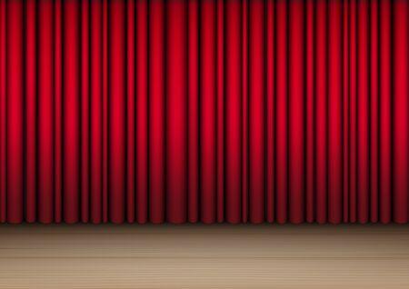 3D Mock up Realistico tenda rossa aperta su palcoscenico in legno o cinema per spettacoli, concerti o presentazioni di sfondo illustrazione vettoriale Vettoriali