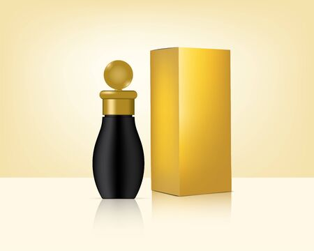 Bottle Mock up Realistic Gold Cosmetic and Box for Skincare Product Background Illustration. Health Care and Medical Concept Design. Foto de archivo - 138199928