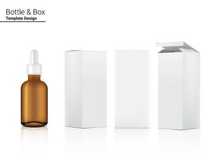 Frasco cuentagotas ámbar simulacro transparente cosmético realista y caja para la ilustración de fondo de productos para el cuidado de la piel. Diseño de concepto médico y sanitario.