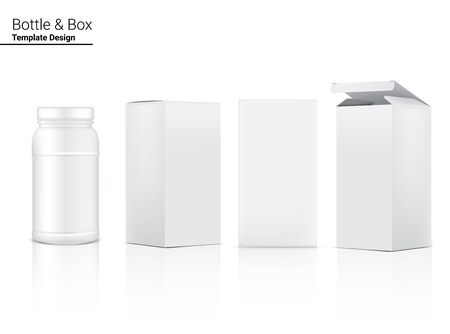 Medicine Bottle Mock up Realistic For Cosmetic and Box for Skincare Product on White Background Illustration. Health Care and Medical Concept Design.