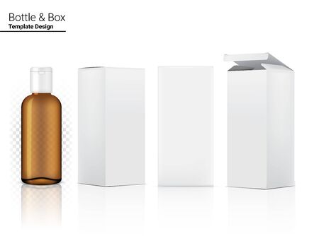 Transparent Amber Bottle Mock up Realistic Cosmetic and Box for Skincare Product or medicine on White Background Illustration. Health Care and Medical Concept Design. Ilustración de vector