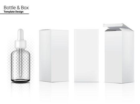 Flacon compte-gouttes transparent 3D maquette cosmétique réaliste et boîte pour produit de soin sur fond blanc Illustration. Soins de santé et conception médicale. Vecteurs